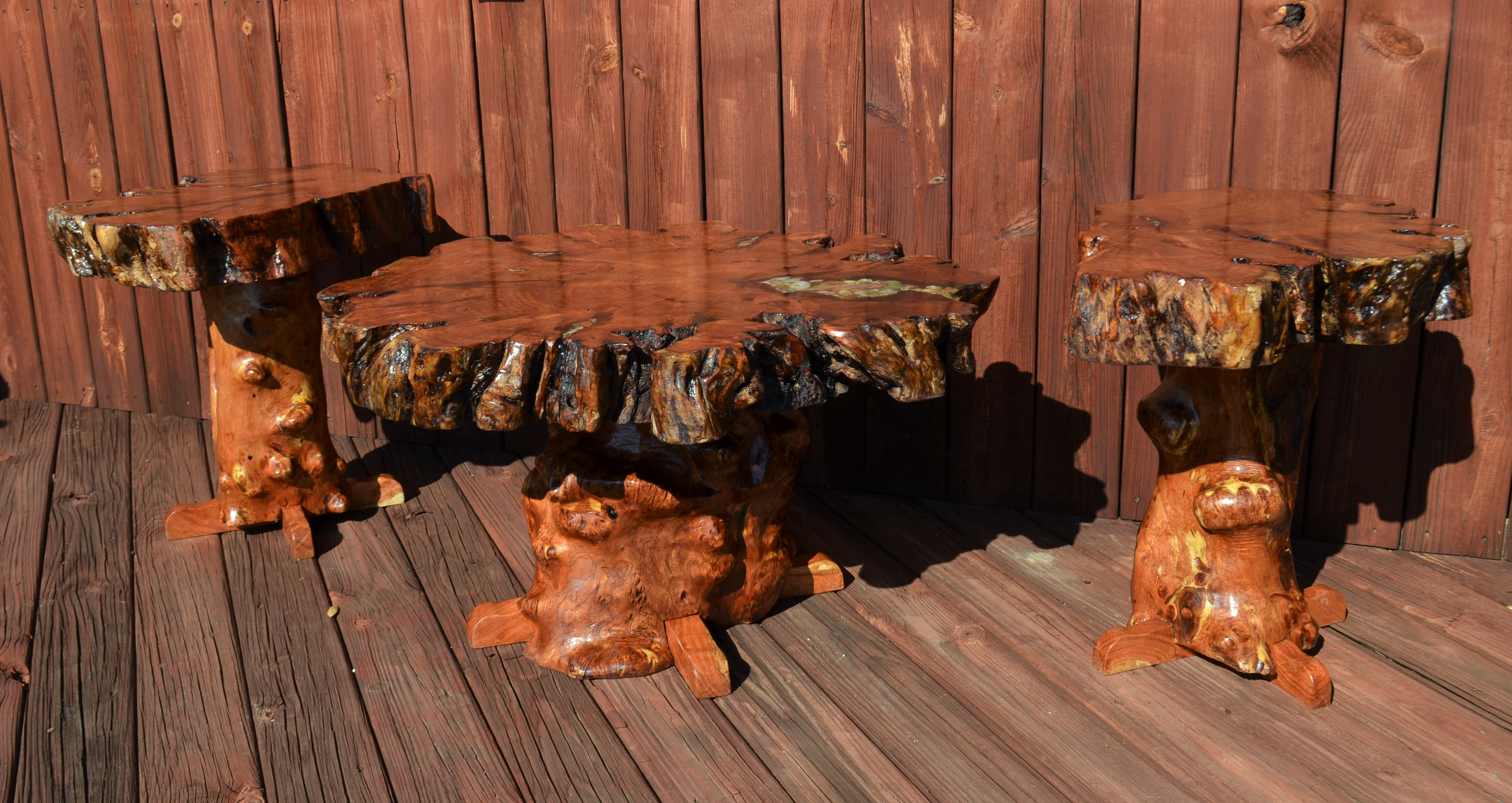Mesquite Burl Coffee Table and Matching End Tables Sycamore