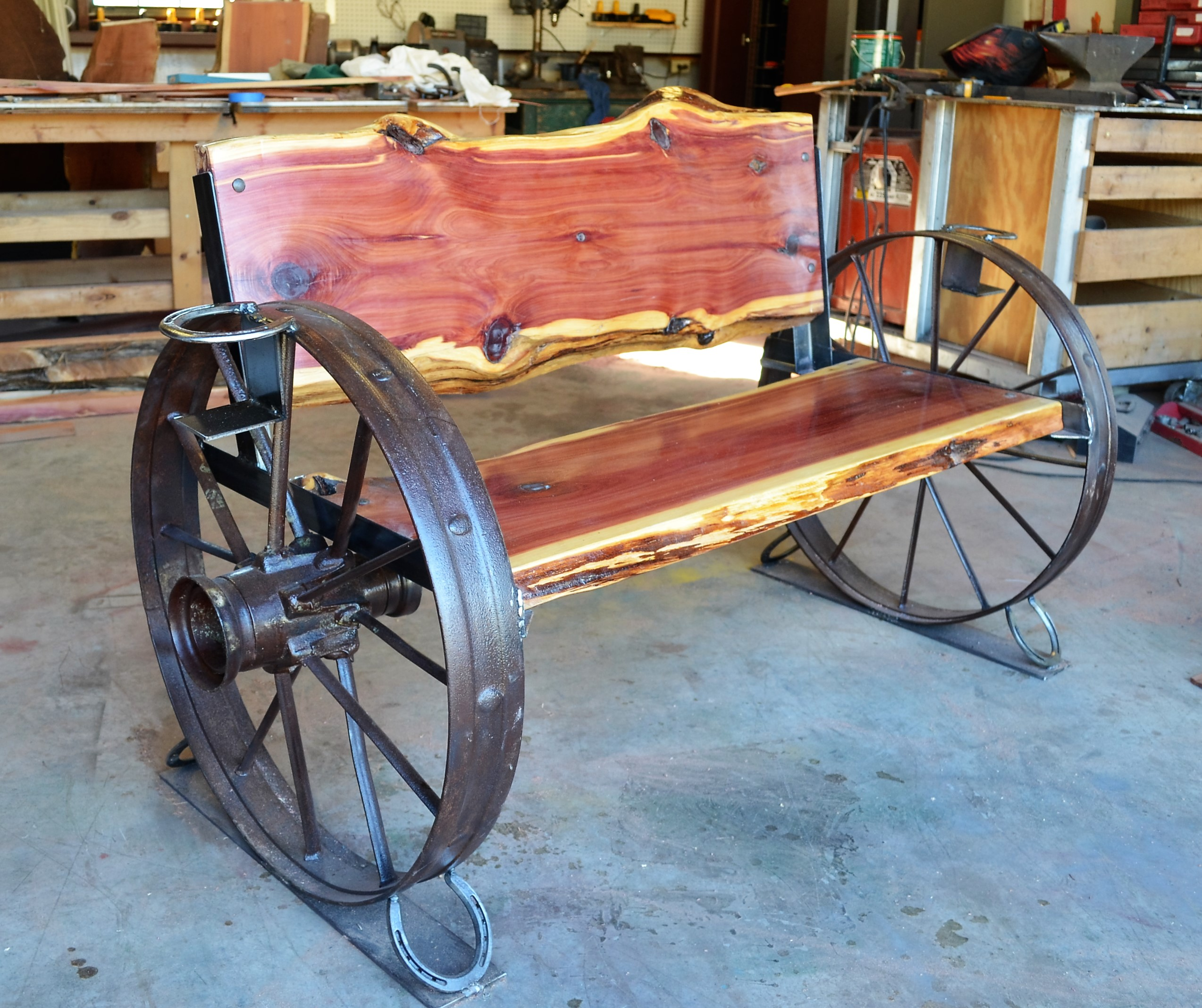 Cedar Wagon Wheel Bench Sycamore Creek Creations