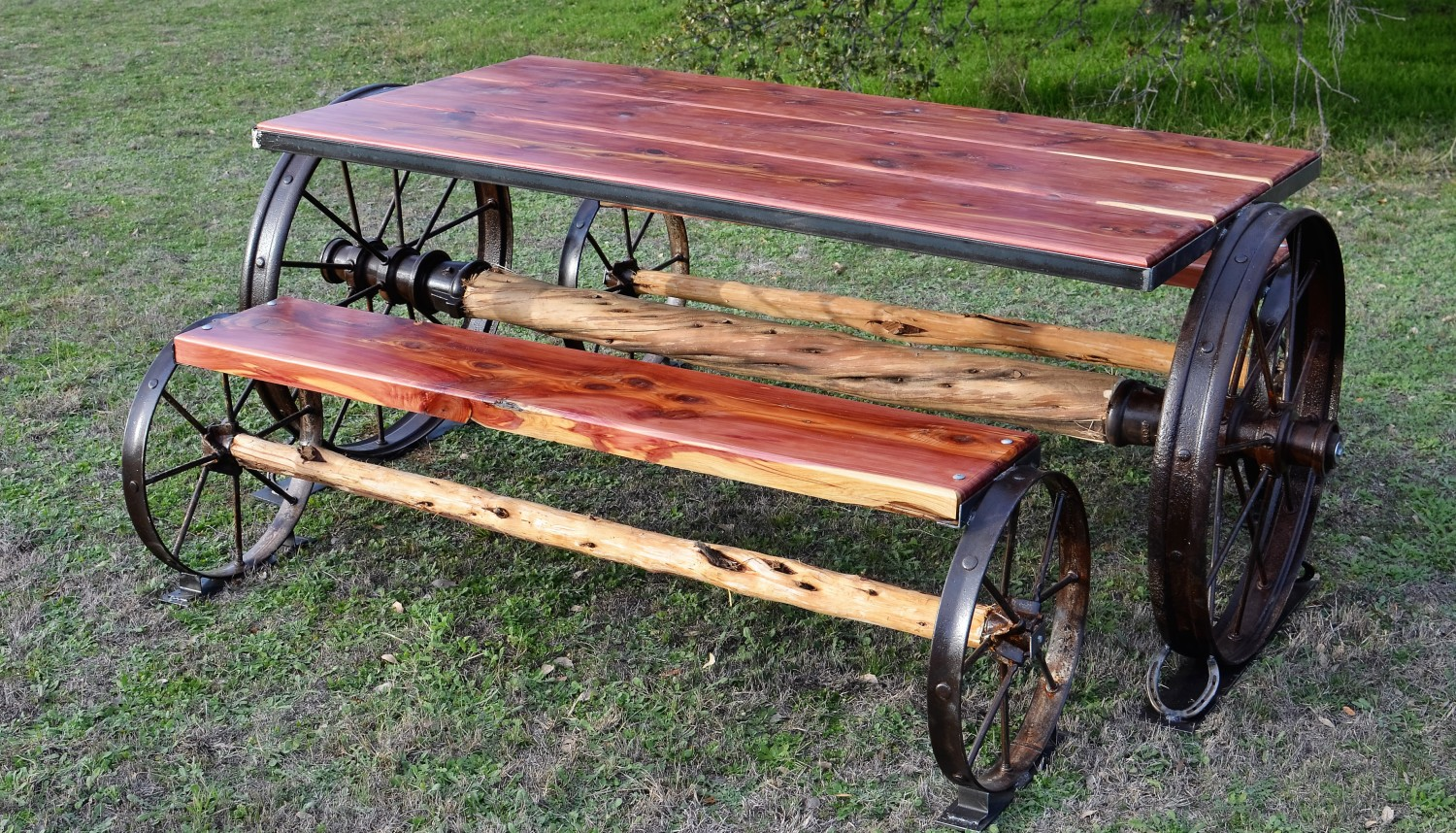 Sycamore creek creations rustic ranch style home decor for Carros de madera para jardin